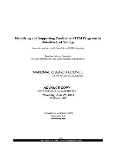 Identifying and Supporting Productive STEM Programs in Out-of-School Settings | digital divide information | Scoop.it