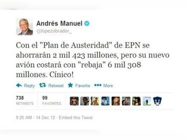 Plan de austeridad de EPN ahorrará 2 mil 423 mdp, pero su nuevo avión costará 6 mil mdp: AMLO   politica en mexico   Scoop.it