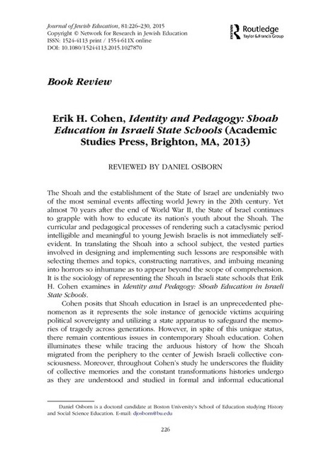 Erik H. Cohen, Identity and Pedagogy: Shoah Education in Israeli State Schools (Academic Studies Press, Brighton, MA, 2013) | Jewish Education Around the World | Scoop.it