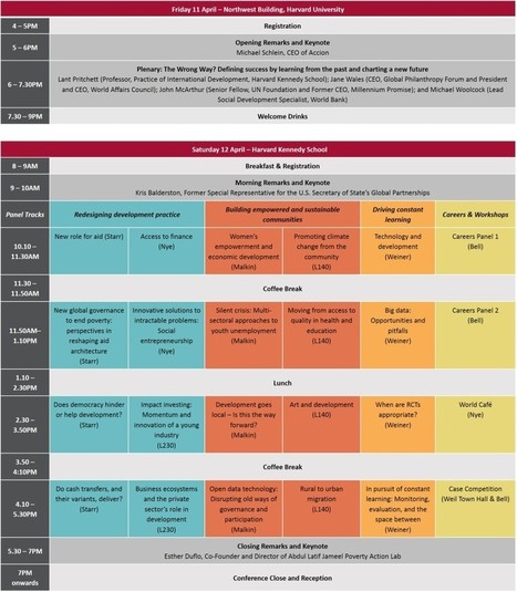 Schedule | 20th Annual International Development Conference at Harvard Kennedy School of Government | Emergent Solutions with International Results | Scoop.it