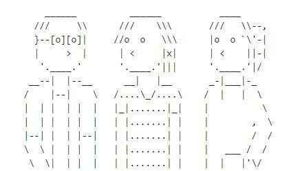 Just starting out. My pseudonym + a few friends of mine. • /r/ASCII_Archive | ASCII Art | Scoop.it