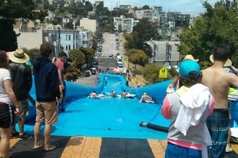 Bear Naked installe un toboggan aquatique géant dans une rue de San Francisco   streetmarketing   Scoop.it