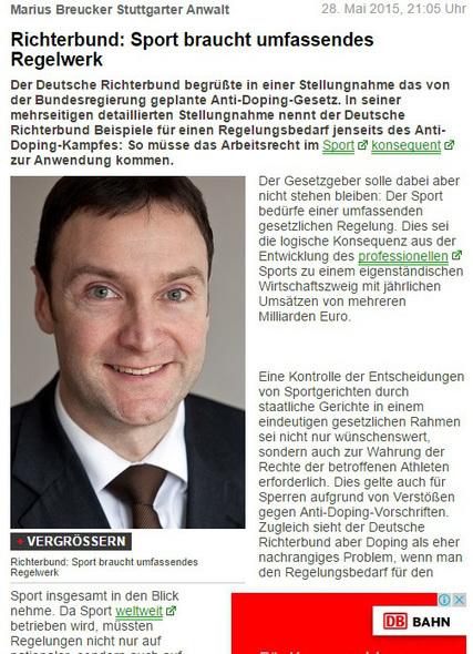 Marius Breucker Stuttgarter Anwalt - Richterbund: Sport braucht umfassendes Regelwerk - UNTERNEHMEN-HEUTE | Dr. Marius Breucker | Scoop.it