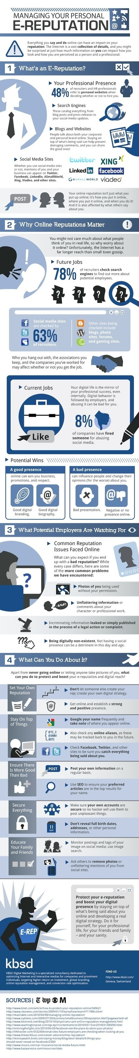 Managing Your Personal E-Reputation - Job Search Infographics | Digital Communication, Community management and E-reputation | Scoop.it