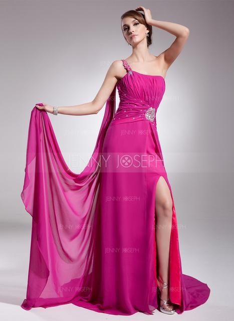 [€ 128.46] A-Line/Principessa Monospalla Coda a strascico Watteau Chiffona Abito da sera con Increspature Perline Spacco sul davanti (017014572)   wedding dress   Scoop.it