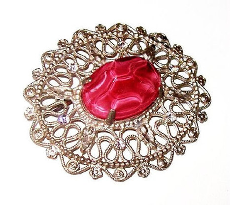 """Edwardian Brooch Pin Pink Marbled Art Glass Clear Ice Rhinestones Silver Cast Metal 2.5"""" Vintage 1910-20s 