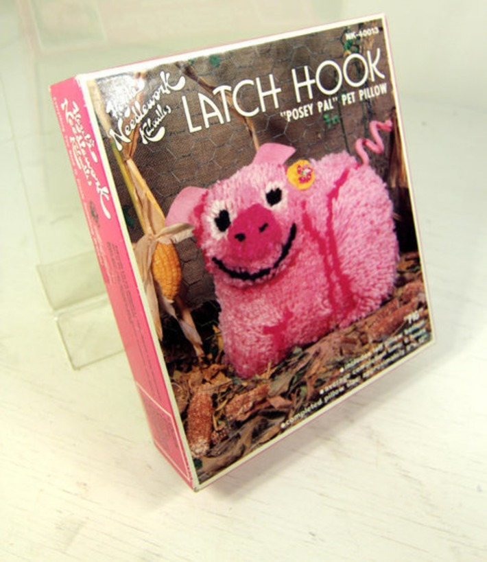 Vintage Retro Hazel's Needlework Kaboodles Posey Pal Pink Pig Pet Pillow Latch Hook Kit 1970s | Kitsch | Scoop.it