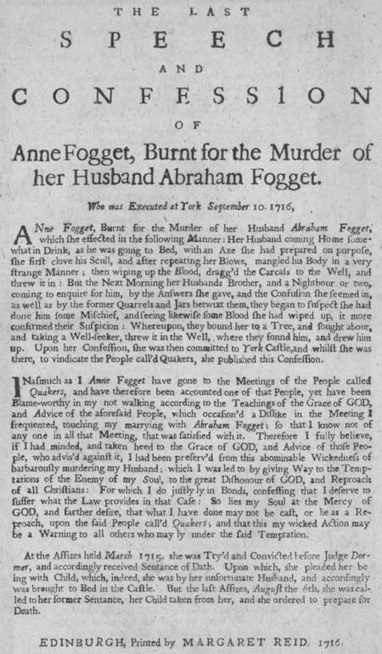Broadside concerning the burning of Anne Fogget | British Genealogy | Scoop.it