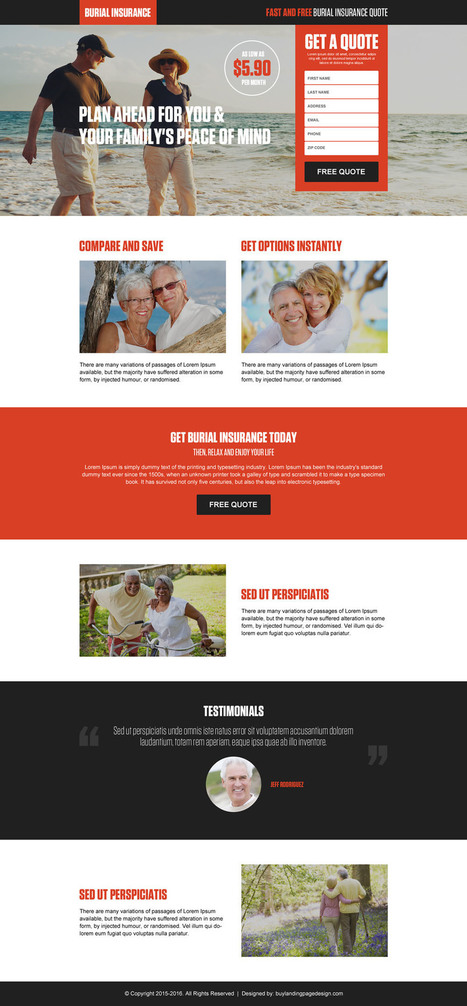 Funeral or burial insurance landing page design templates | BuyLPDesign Blog | converting and effective landing page designs | Scoop.it