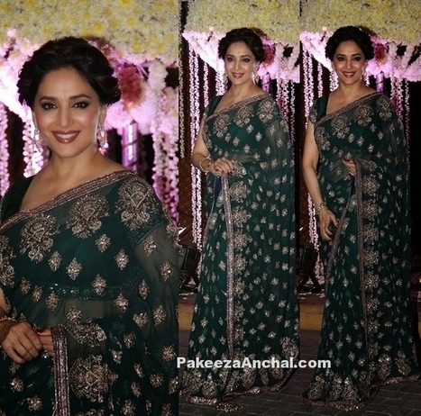 Madhuri Dixit in Multi Sequin Zari Embroidered Green Saree & Blouse | Indian Fashion Updates | Scoop.it