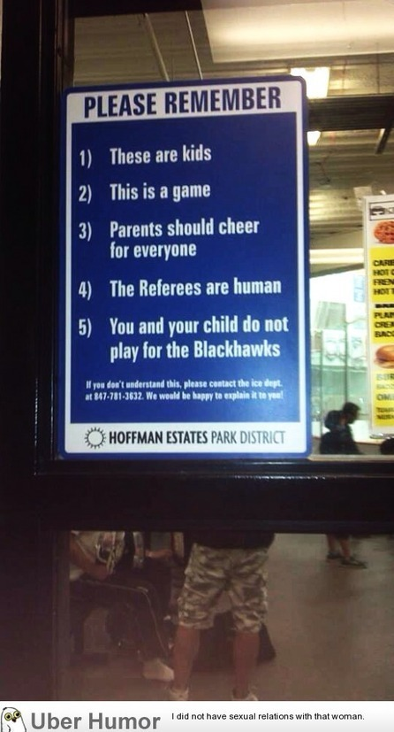 A sign at my nephews hockey rink. All kids sports facilities should ... | childrens sports | Scoop.it