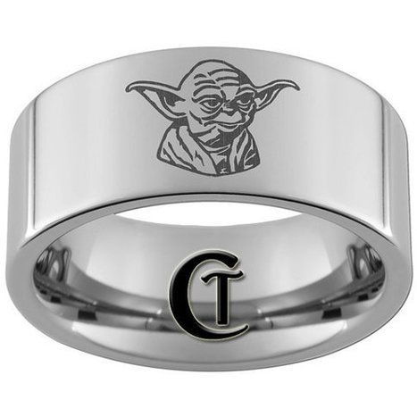 10mm Pipe Tungsten Carbide Laser Star Wars Yoda Design Ring Sizes 5-17 | GeekGasm | Scoop.it