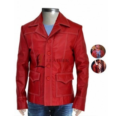 Brad Pitt Flap Pocket Fight Club Red Leather Jacket | Unique collection of celebrity jackets its now | Scoop.it
