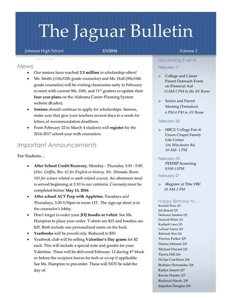 16.2.2 The Jaguar Bulletin.pdf | DEEPER Instruction, DEEPER understanding, DEEPER knowledge | Scoop.it