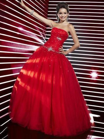 Ball Gown Strapless Tulle Floor-length Sleeveless Crystal Detailing Quinceanera Dresses at pickedlooks.com | Quinceanera Dresses 2014 | Scoop.it