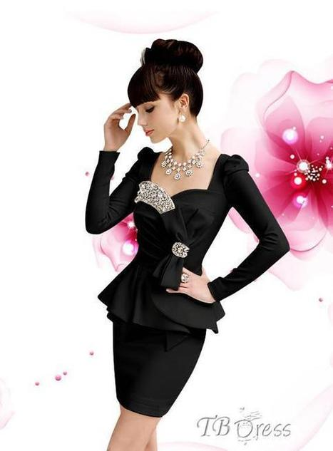 $ 40.99 Temperament Bow Knot Long Sleeves Square Neckline Dress | beauty | Scoop.it