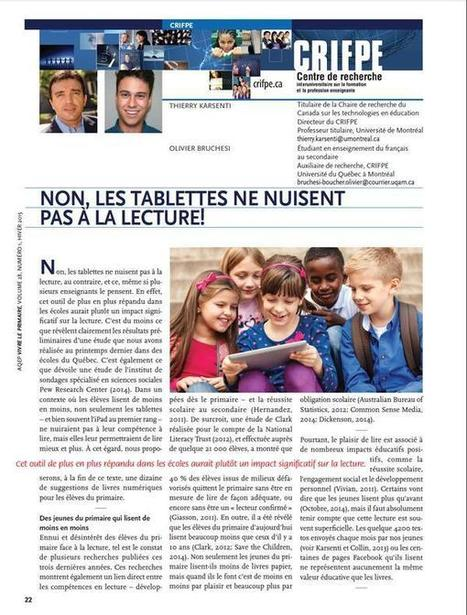 Non, les tablettes ne nuisent pas à la lecture. Article de Thierry Karsenti sur Twitter | alexfromdijon | Scoop.it