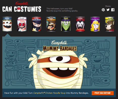 "Dress your Campbell's soup cans in ""Can Costumes"" for Halloween 