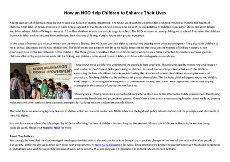 How an NGO Help Children to Enhance Their Lives - PDF | National Ngo | Scoop.it