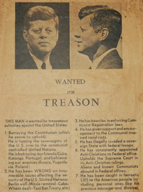 "JFK Orig ""Wanted for Treason"" Poster *VERY RARE* : Lot 83 | $ocial ℳ℮dia ↻↻ | Scoop.it"