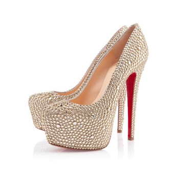 Daffodile Strass Gold 160mm Platforms Shoes [20131017] - $169.00 : bagbagsoutlets | bags outlet | Scoop.it