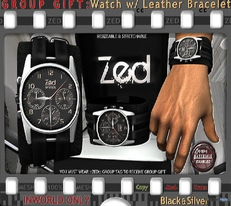Mesh Leather Watch Bracelet Group Gift by ZED | Teleport Hub - Second Life Freebies | Second Life Freebies | Scoop.it