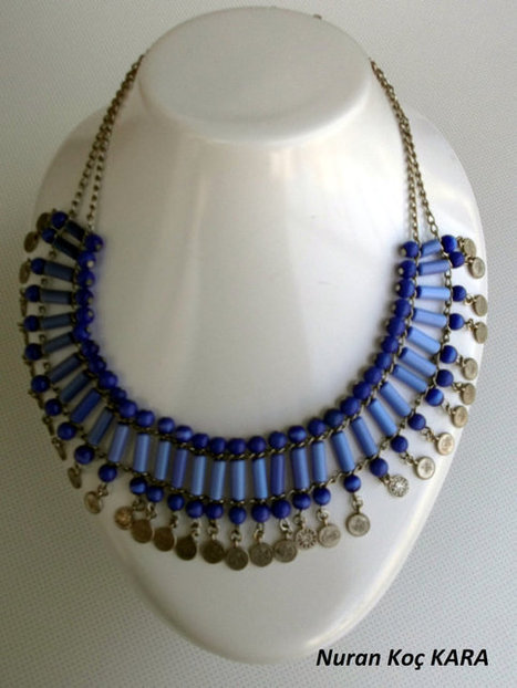 Cat's eye Glass beaded Necklace - Bead Necklace - Blue Necklace | summer | Scoop.it