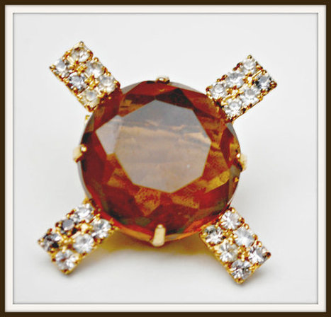 Vintage  Facet Cut Topaz Color Glass with Rhinestones Brooch | serendipity treasures | Scoop.it