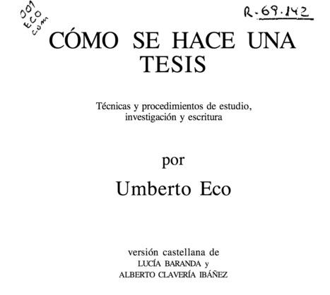 [eBook] Cómo se hace una Tesis: Técnicas y procedimientos de estudio, investigación y escritura | Gestión TAC | Scoop.it