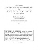 Wheelock's Latin Teacher's Guide & Answer Key | Latin | Scoop.it