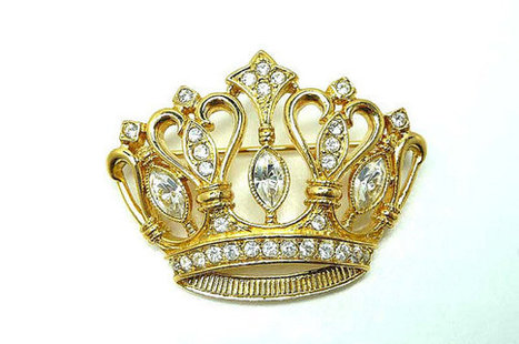 KJL Crown Brooch - Vintage Kenneth J Lane Avon Jewelry | TheJewelSeeker | Scoop.it