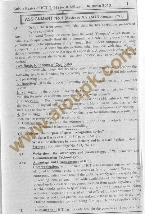 Basics of ICT Code 1431 BA / B.Com Solution of Assignment No.1 Autumn 2013 | Facebook Timeline Covers | Scoop.it