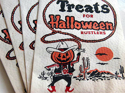 Vintage Halloween Treat Bags - Cowboy Pumpkin Swinging Rope | Horse And Rider World | Scoop.it