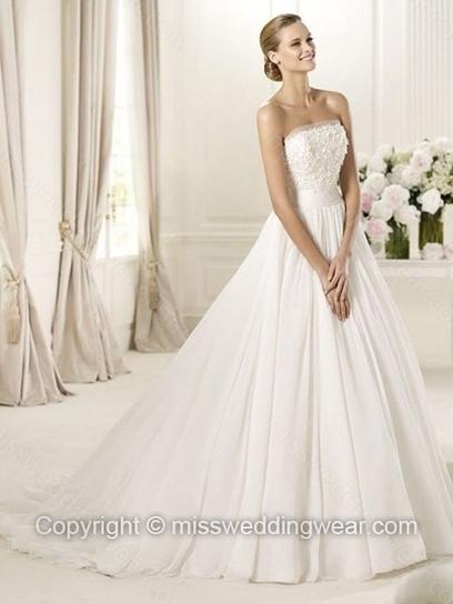 A-line Strapless Elastic Woven Satin Sweep Train Appliques Wedding Dresses   2014 wedding dress online   Scoop.it