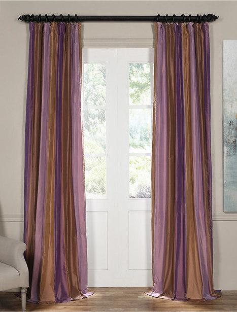 Smokey Topaz and Amethyst Silk Stripe Curtain | window curtains | Scoop.it