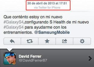 David Ferrer vante le Galaxy S4 sur Twitter... avec son iPhone | Geeks | Scoop.it