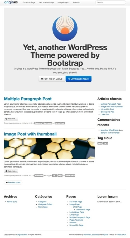 Origines, un Theme WordPress propulsé par Bootstrap - TRIBELEADR | Wordpress templates | Scoop.it