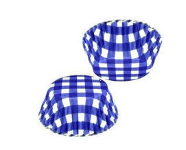 Blue white check Gingham Paper Cupcake Liners baking cups 100 ct | Candy Buffet Weddings, Events, Food Station Buffets and Tea Parties | Scoop.it