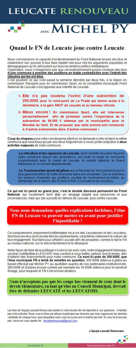 Le ping-pong des démagogues ! Quand le FN de #Leucate joue contre Leucate... renouveau ! | #AUDE #LEUCATE XXI | Scoop.it