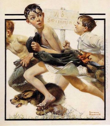 Oil painting reproduction: Norman Rockwell No Swimming - Artisoo.com | arts&oil | Scoop.it