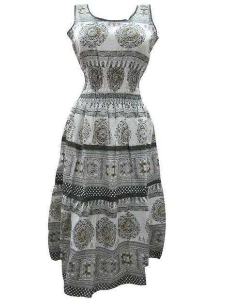 Black White Smoked Cotton Long Maxi Dress Summer Wear | Bohemian Fashion | Scoop.it