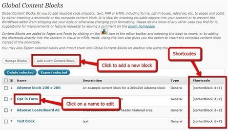 WordPress › Global Content Blocks « WordPress Plugins | Smad IT - Wordpress Plugins | Scoop.it