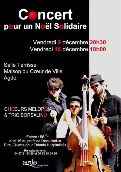 AGDE – Concert pour un Noel Solidaire les 9 et 16 décembre Choeurs Melopoia et Trio Borsalino – Hérault Tribune