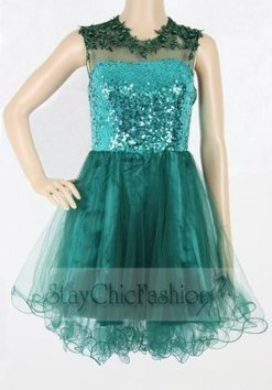 Emerald Short High Neck Open Back Sequin Prom Dress [Open Back Sequin Prom Dress] - $168.00 : Womens Fashion Outfits & Mens Jackets Online|StayChicFashion | homecoming dresses 2013 | Scoop.it