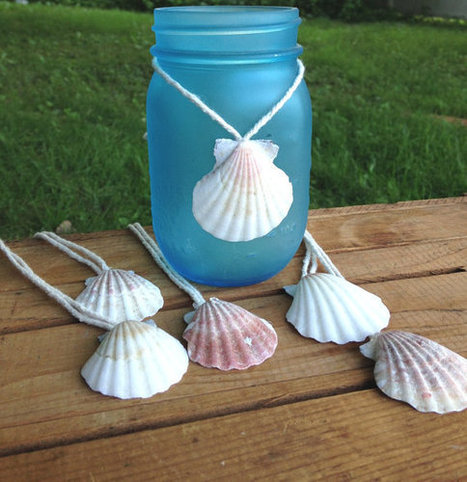 Scallop Shell hang tags favors jar decorations beach seashell favors, shower, thank you, weddings by ilPiccoloGiardino | Beachy Keen | Scoop.it
