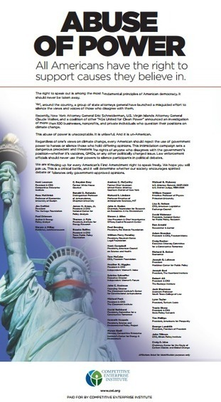 Full page ad in NYT today slams Attorneys General climate witch hunt | Liberty Revolution | Scoop.it