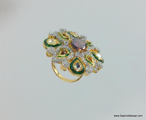 Kundan American Diamond Ring With Traditional Meena Work | Ruby AD Pendant and Earrings | Scoop.it