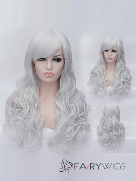 Romantic Silver White wavy Side Bang Synthetic Wig : fairywigs.com | Synthetic Hair Wigs | Scoop.it
