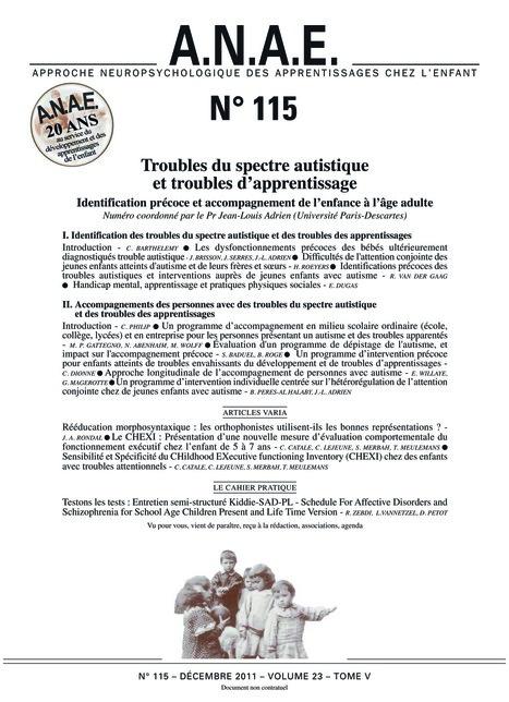 ANAE N° 115 - Autisme et troubles des apprentissages - Décembre 2011 | ASH et information documentation | Scoop.it