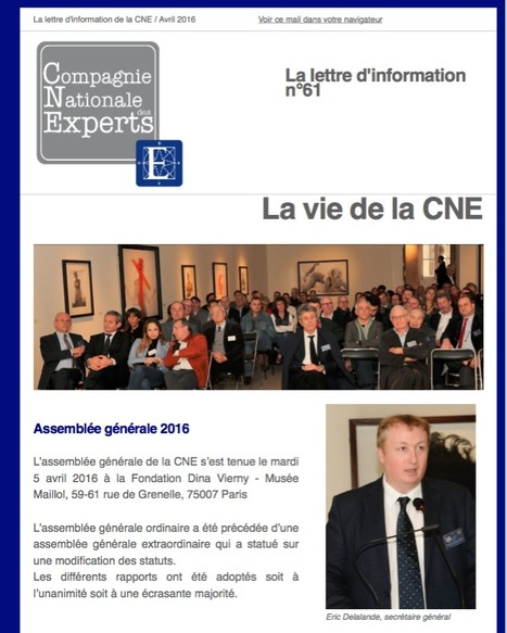 "L'actualité de la Compagnie Nationale des Experts et de ses membres n°61 / Avril 2016 | ""L'Expert-Marchand"" 